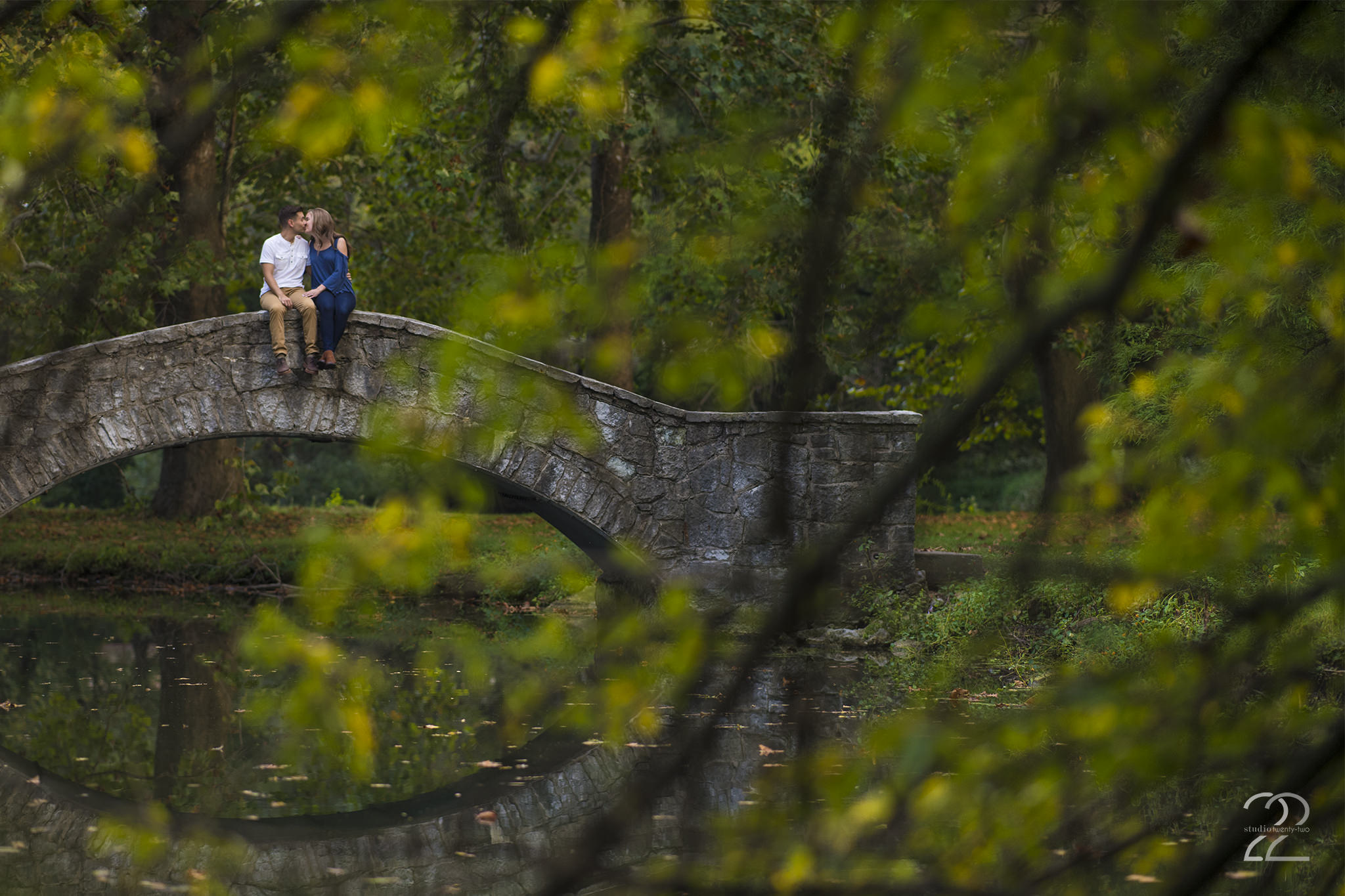 The stone arch bridges at Eastwood MetroPark are some of my favorite features at this Dayton engagement photo location, and it