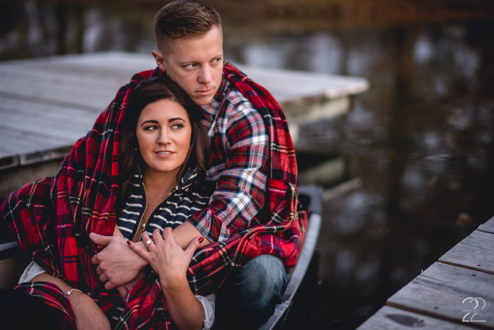 Back to those docks at Eastwood MetroPark! Mike and Ashlea brought their own canoe for their engagement photos, which was super rad! I love outdoor excursions, and when couples want to incorporate their own pieces into their engagement photos, that