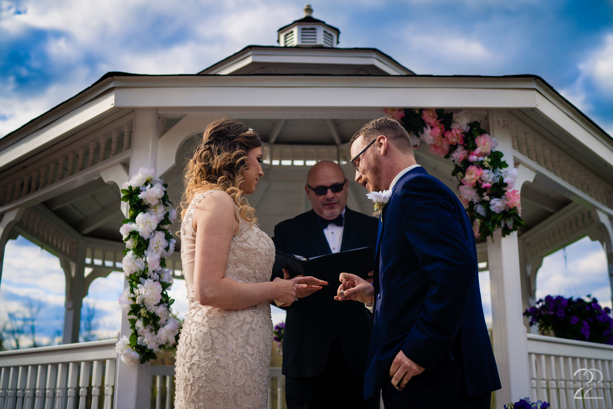 The exchanging of the rings is an extremely special part of the wedding ceremony, and Erica + Nick had beautiful vows to accompany the ring exchange. Aston Oaks Golf Club in Cincinnati, Ohio was a fantastic outdoor wedding venue, and the weather was absolutely perfect for their special wedding day.
