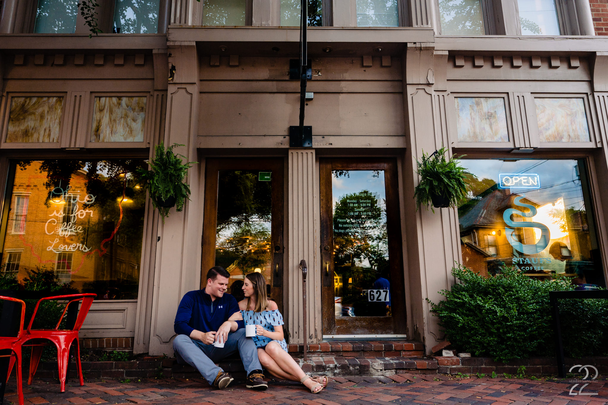The German Village in Columbus is a great place to explore. Studio 22 loved just capturing relaxed photos of these two while they enjoyed a cup of coffee on a break in the engagement photos.