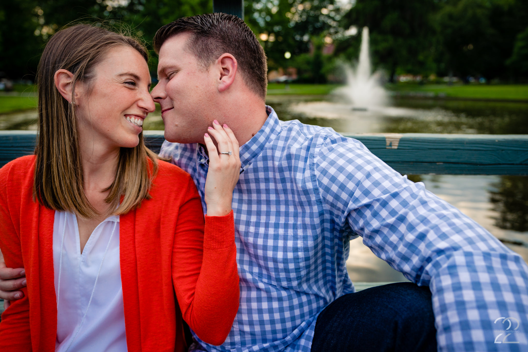 Engagement photography is one of those times where the closer you are the better, even in public places. These two snuggled up real close at North Bank Park in Columbus for some loving and real portraits.