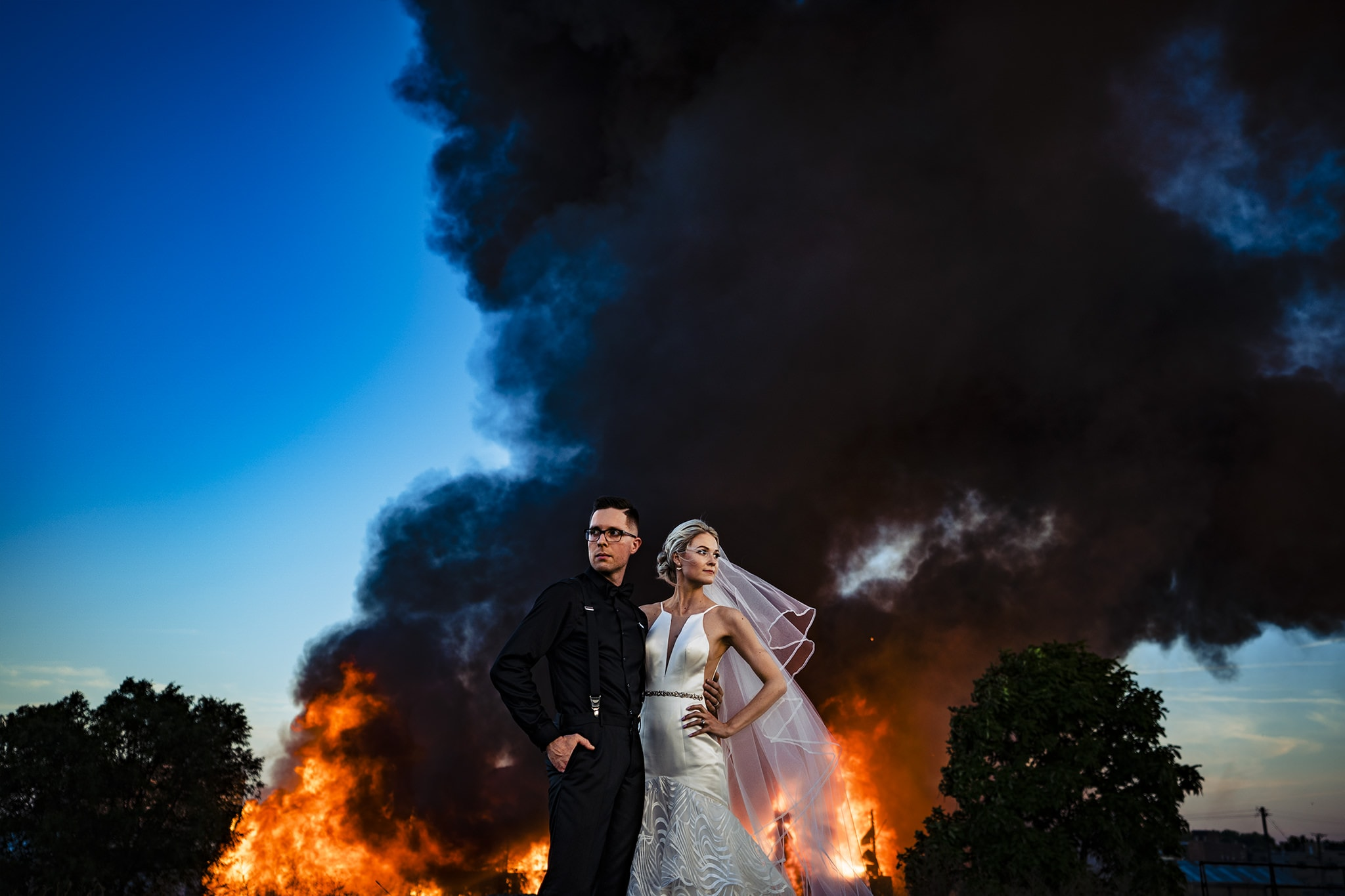 Fire Wedding Photo in Dayton