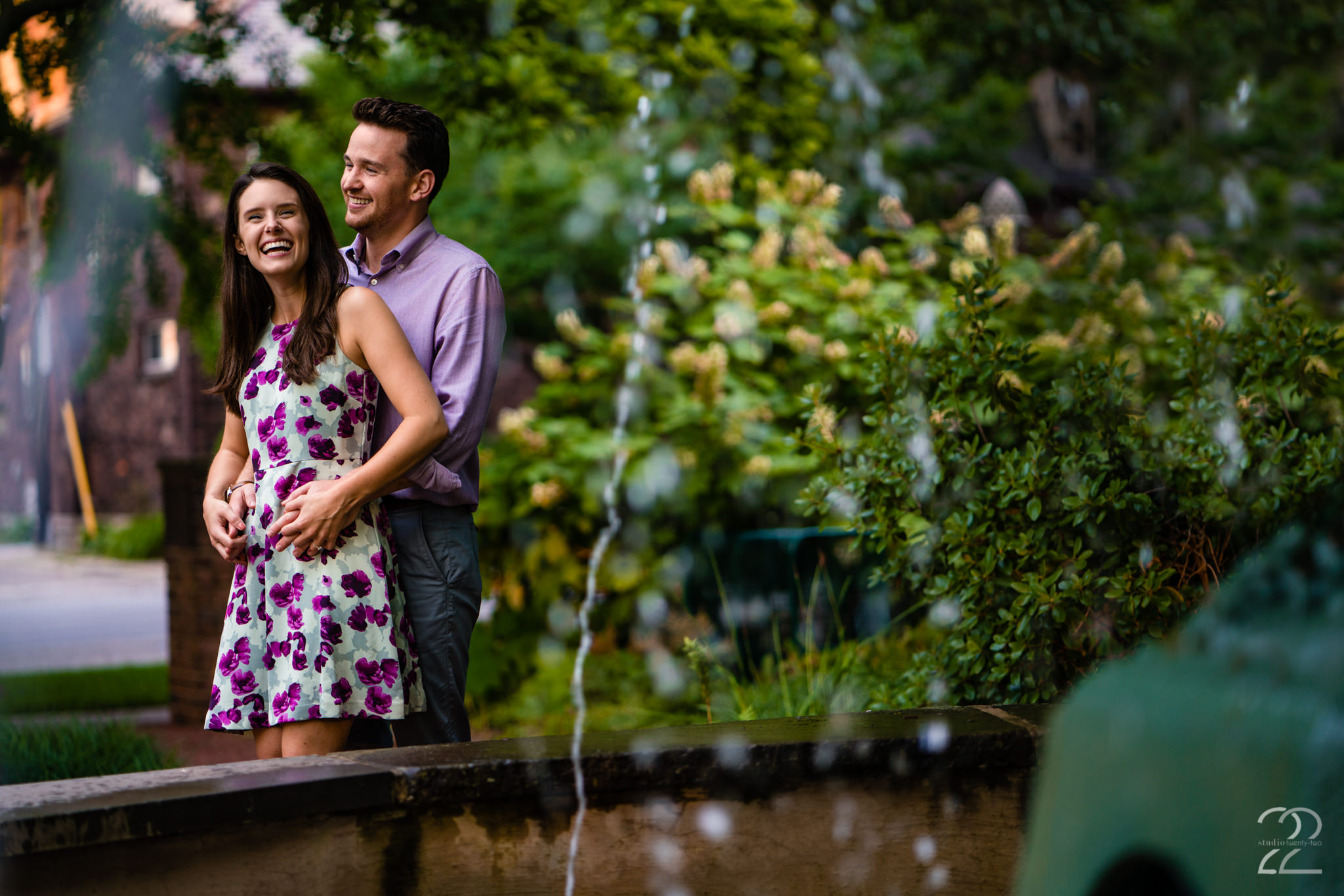 What is a more perfect summer engagement photography outfit than a simple floral dress while at Merrick Rose Garden in Chicago, Illinois.