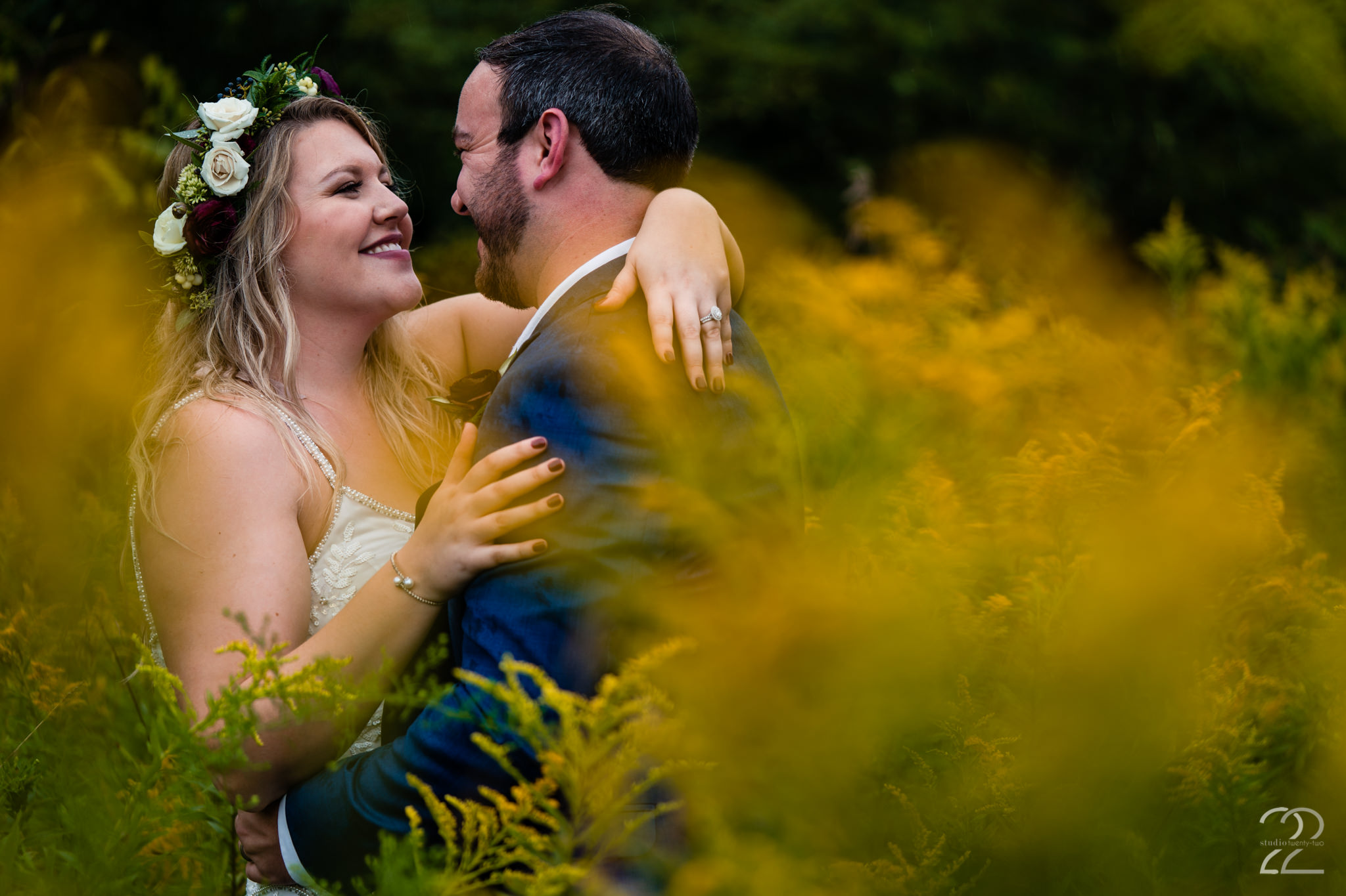 One of the great things about getting married at Canyon Run Ranch in Ohio is all of the magnificent locations to take wedding portraits. Megan Allen loves to find the quiet, secluded spots at your venue for you to love on each other before the chaos of the wedding reception begins.