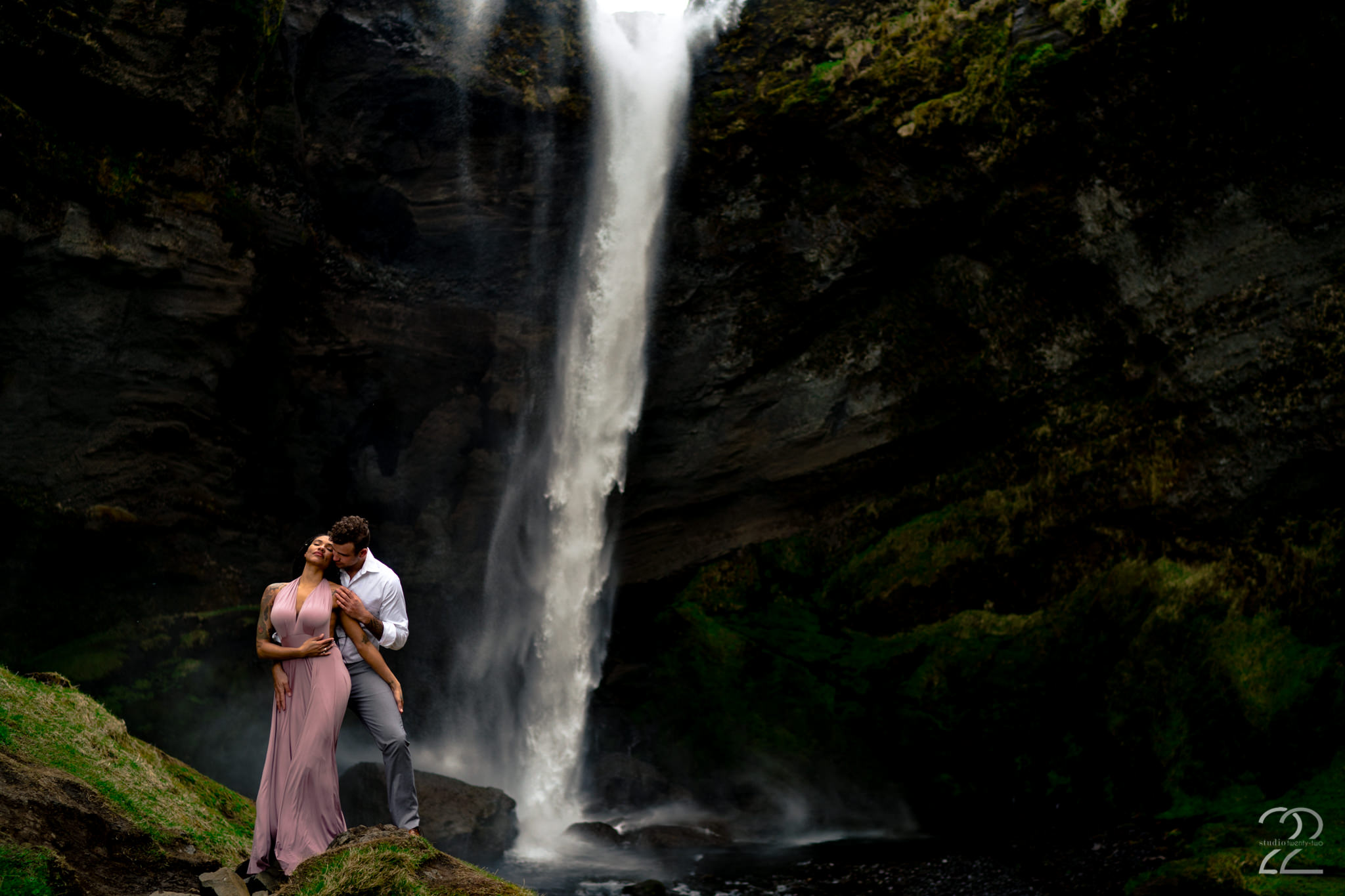Kvernufoss Iceland Engagement Photo - Studio 22 Photography