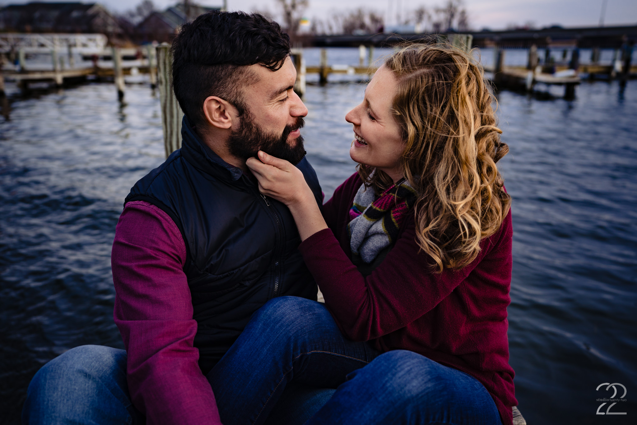 Fall photo sessions bring out the best looks. The rich and deep jewell tones, the layers and the accessories all combine into beautiful images. It also helps that the chilly temperatures force couples to snuggle in tighter than they may in the heat of the summer sun.