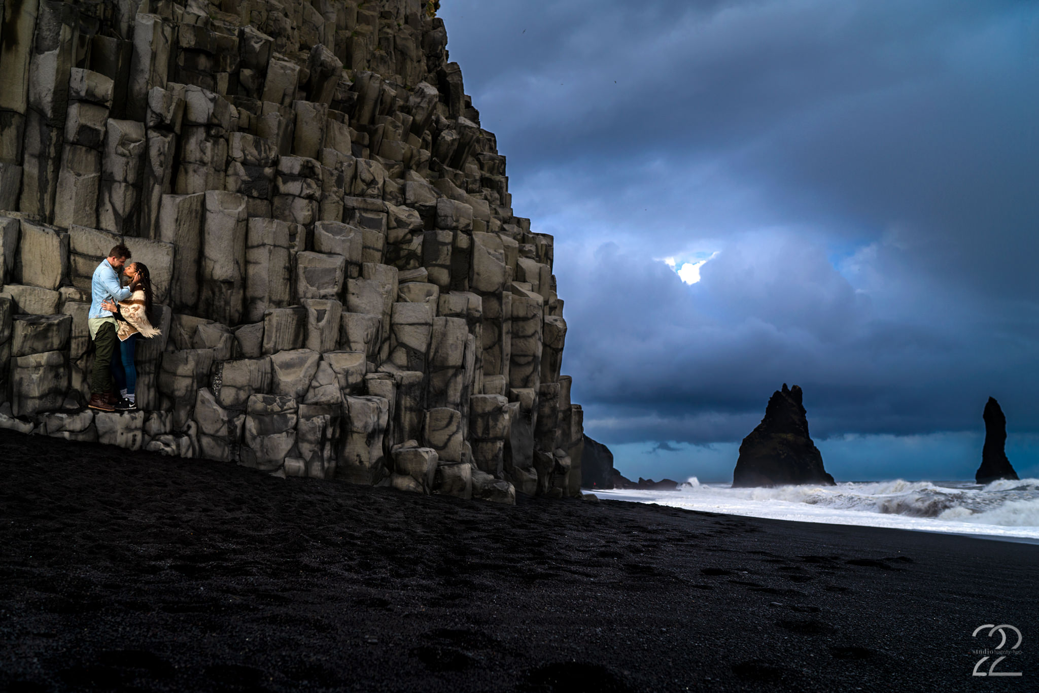Iceland Engagement Photos on Black Sand Beach - Studio 22 Photography