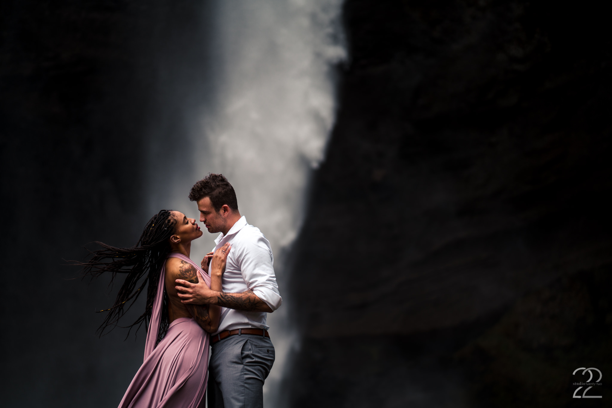 Studio 22 Photography - Iceland Engagement Photos - Kvernufoss Waterfall