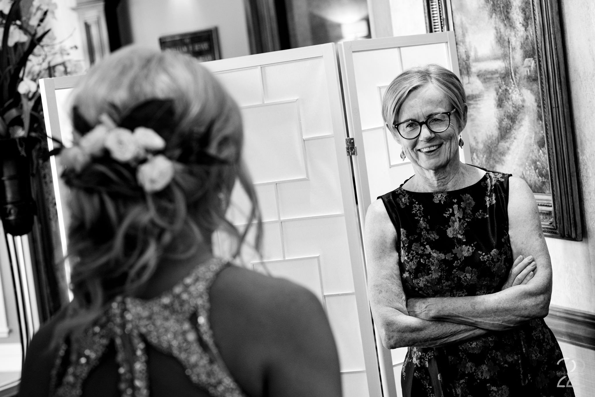 There are infinite images of the bride and groom on their wedding day, however one thing that Megan Allen wants to be sure of is that you have photographs of the emotions and reactions of your family and friends. This image of Annie's mom seeing her for the first time after getting ready for her Cincinnati wedding, is exactly why this is a priority of Studio 22 Photography.