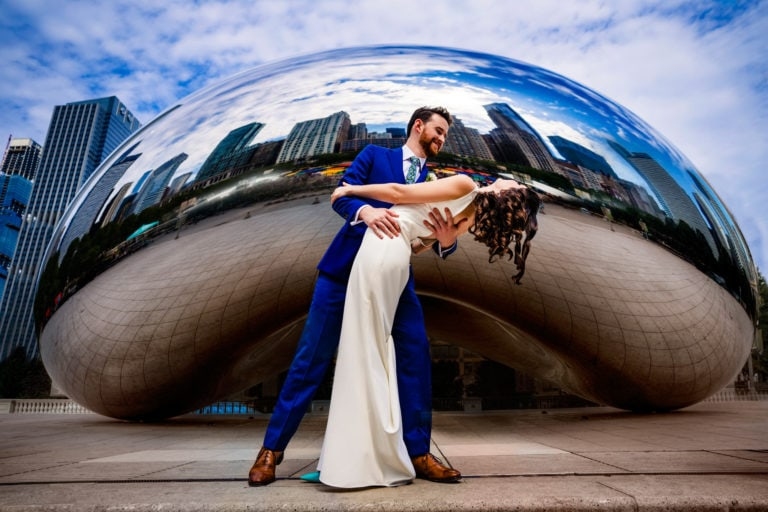 Wedding couple in front of the Bean in Chicago