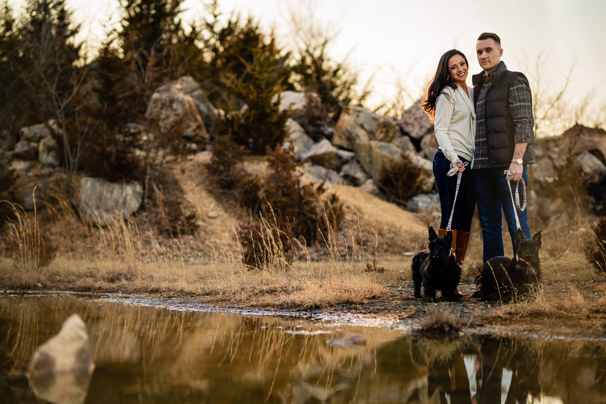 Winter Engagement Photos in Ohio - Engagement Photos with Dogs
