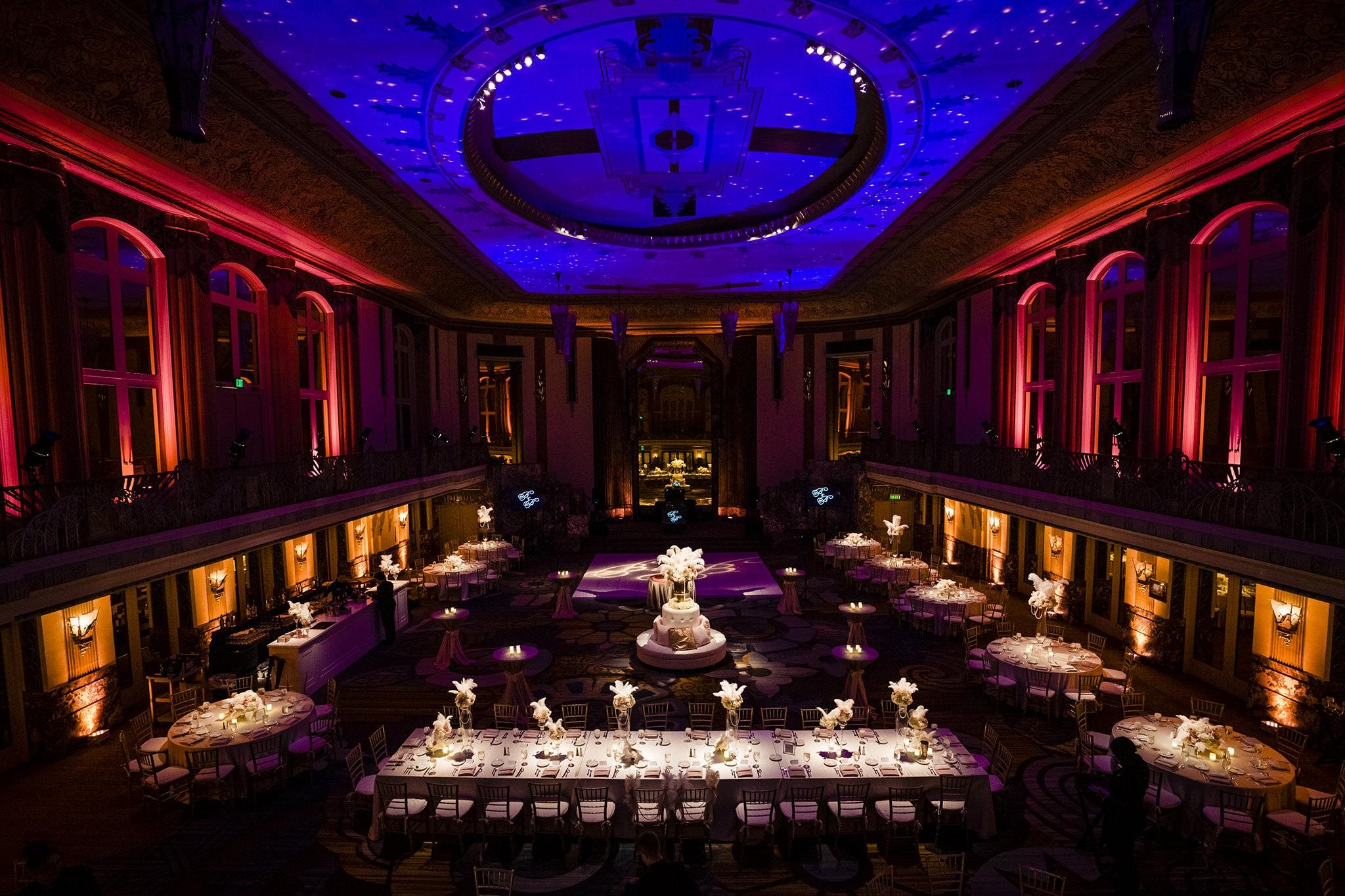 Wedding reception hall of mirrors in Cincinnati
