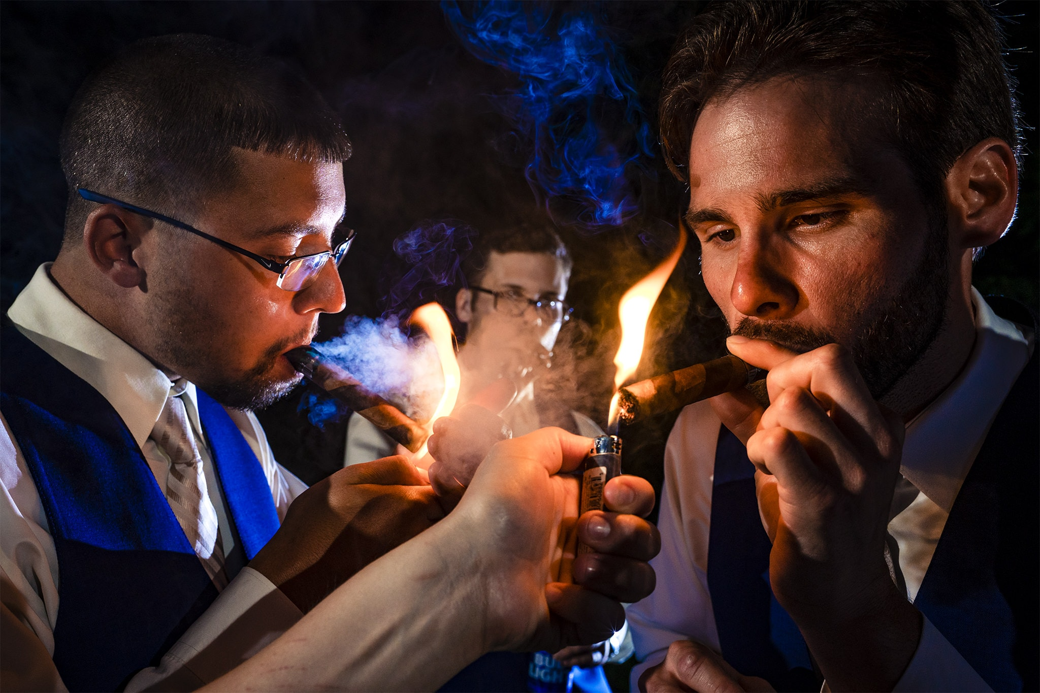 Groomsmen Smoking Cigars - Studio 22 Photography