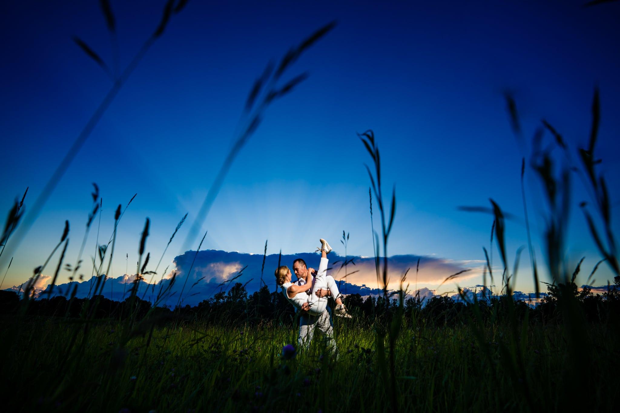 Wedding Photos at Sunset - Hidden Vineyard Wedding Barn