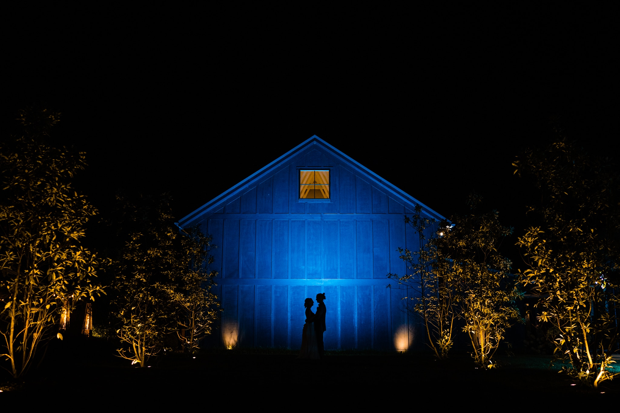 Silhouette of couple at modern greenhouse wedding